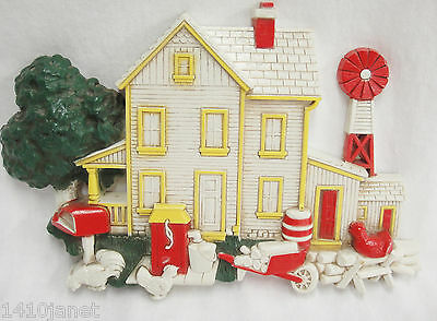 Homco Country Farm House Plastic Wall Hanging Windmill Wheel Barrow Mailbox