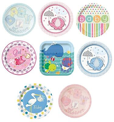 "Baby Shower 8 Large Paper Plates 9"" (Boy/Girl/Party/Tableware/Decoration)"
