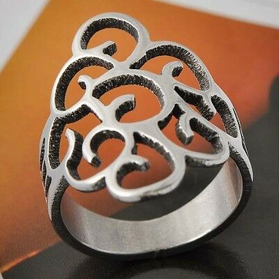 European Style Vintage Womens White Stainless Steel Ring Size 6# D4431