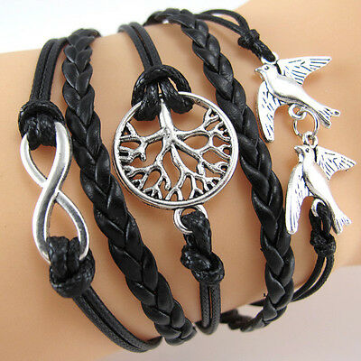 Antique Silver Infinity Double Birds Wish Tree Charms Leather Wrap Bracelet