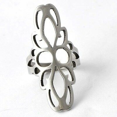 Vogue White Stainless Steel Womens Ring Size 6# D4435