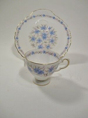 Tuscan Bone China Cup and Luncheon Plate Love in the Mist Blue Floral Pattern