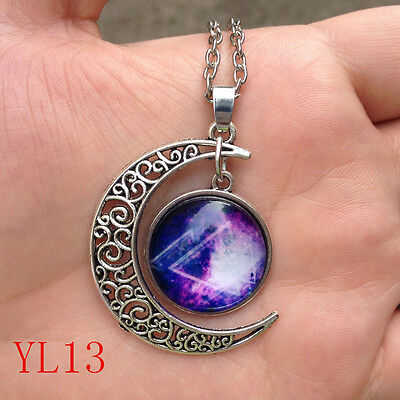 NEW Colorful Galaxy Glass Hollow Moon Shape Pendant Silver Tone Necklace YL13!