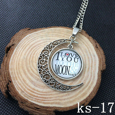 2015 New Handmade I Love You To The Moon And Back Necklace Silver plated ks-17