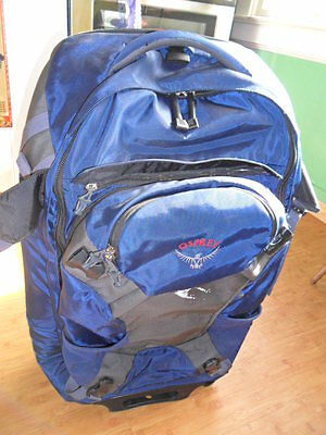 "Osprey Meridian 28"" Convertible BACKPACK Rolling SUITCASE Blue-Gray"