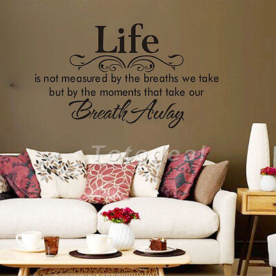 New art sticker LIFE is NOT MEASURED BY the BREATHS WE TAKE inspirational