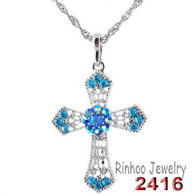 Fashion Cross Inlay Blue Rhinestone Pendant Necklace White Gold Plating New Gift