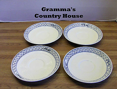 "4 Adams Empress China HOLLANDIA BLUE 6¼"" Saucers  Ironstone England"