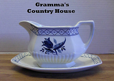 1 Adams Empress China HOLLANDIA BLUE Gravy Boat and Underplate Ironstone England
