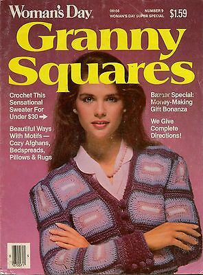 Crochet Patterns Womans Day Granny Squares Holiday Sweater Afghan Edgings VTNS