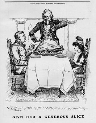 Theodore Roosevelt And Cuba Having Thanksgiving Dinner Uncle Sam Cutting Turkey