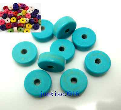 Hot 50pcs Flat Round Spacer Beads Loose Turquoise Stone Free Shipping 8/6mm