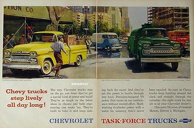 1958 Chevy Truck Ad Fleetside Pickup/ Van /Workmaster  20X13 Vintage Car Art!