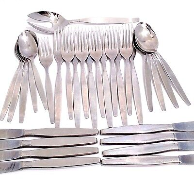 Vintage Flatware Set Oneida Community Frostfire Stainless 30 Piece Lot Mix Satin