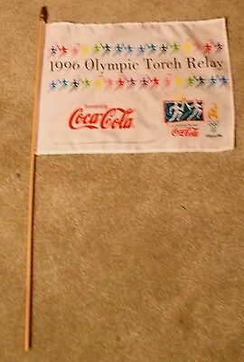 """1996 Atlanta Oylmpic Torch Relay Flag 12"""" by 18"""" on a 31"""" wooden stick"""
