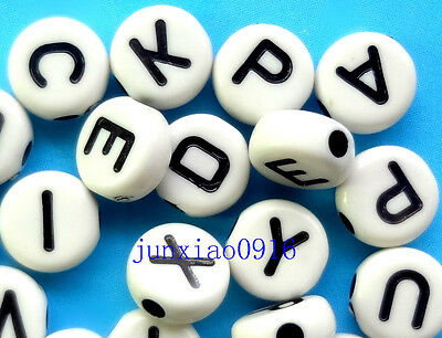 Lot 100pcs White Round Flat Acrylic Alphabet Letter A-Z Spacer Beads 7X3mm A-YB