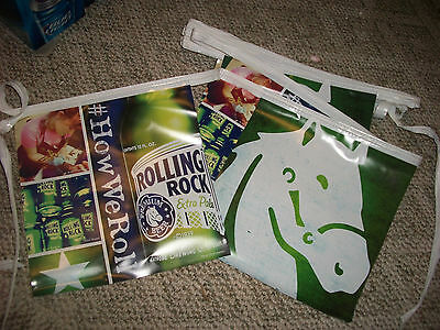 Set of 2 Rolling Rock 16 flags streamer signs vintage retro dorm pool 40ft beer