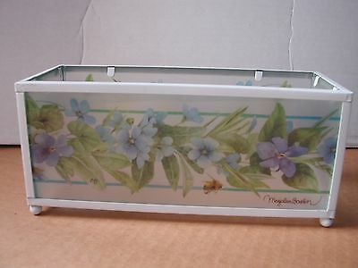 Marjolein Bastin glass tea candle holder, holds 4 candles, purple & blue flowers