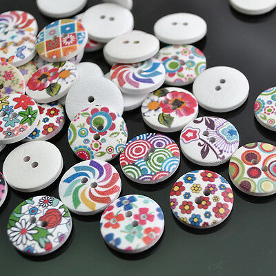 New 100pcs Mix Color Wooden Printed  Buttons 2 Holes Craft Sewing DIY 18mm NK110