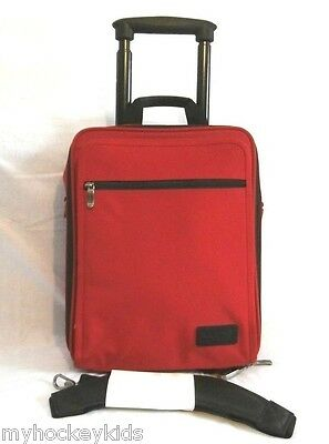 """WILSONS LEATHER Red/Blk 18"""" Wheeled Carry On Suitcase Laptop Shoulder Bag NEW"""