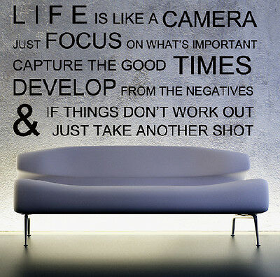 Family Wall Decal Life Camera Love Quote Vinyl StickerLiving Bedroom Art Decor