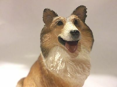 """RED WHITE COLLIE ADULT SITTING 3"""" FIGURINE LIVING STONE HAPPY ENCORE GROUP 2002"""