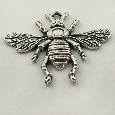 **20pcs Antique Style Silver Tone Alloy Flying Insects Bee Pendant Charms 32mm