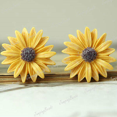 RESIN CABOCHONS 3PCS 27X27MM FLATBACK VINTAGE SUN FLOWER CAMEO YELLOW RB0555-4