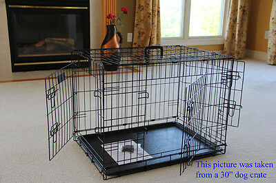 "EliteField 24"" 3-Door Folding Dog Crate Cage Kennel with RUBBER FEET"