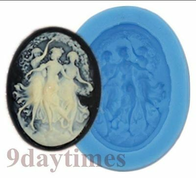 Belle Grils Cameo Cabochon Flexible Silicone Mold For Polymer Clay 40x30mm A394