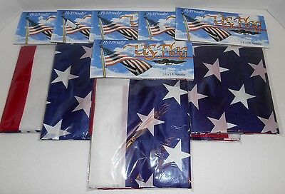 USA Polyester 3' x 5' American US Flags New In Package Lot Of 6