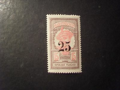 CLASSIC FRANCE COL. MARTINIQUE 25C ON 15C SIGNED VF MLH A2.13 LOW START