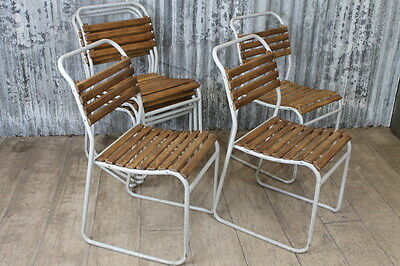 Vintage Slatted Stacking Chairs With White Frames Large Quantity Available