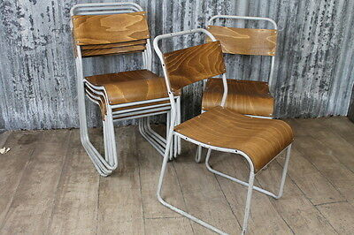 Industrial Stacking Chairs With White Shabby Chic Frame Large Quantity Available