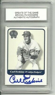 CARL ERSKINE AUTO AUTOGRAPH SLABBED CARD 2001 FLEER GREATS OF THE GAME BROOKLYN