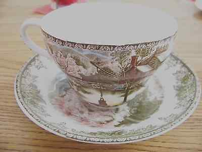 """Johnson Bros. Friendly Village Oversized Cup and Saucer--"""" The Well """""""