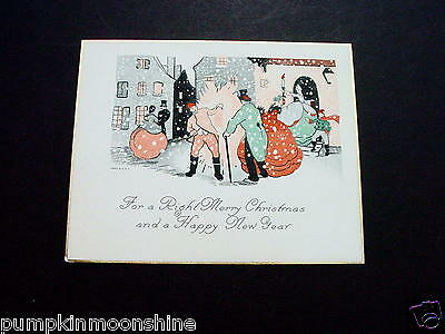Vintage 1900's Xmas Greeting Card Victorian Holiday Street Performers