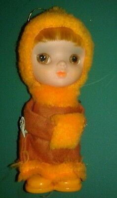 "Vintage 1968 KAMAR ornament Eskimo winter Wide Eyes Red Orange 6"" Japan blonde"