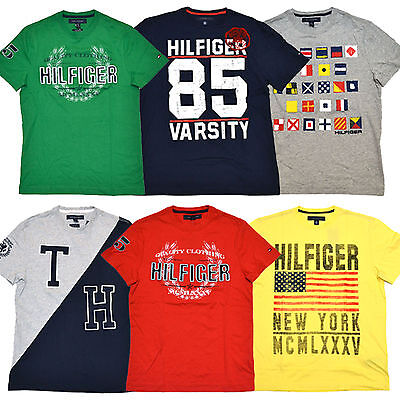 Tommy Hilfiger Mens Graphic T-Shirts Lot of 5 Tees Distressed All Colors P064