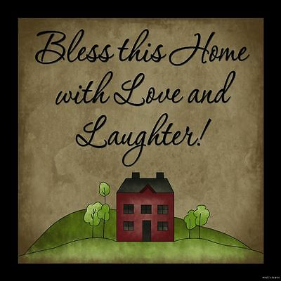 BLESS THIS HOME WITH LOVE & LAUGHTER wood sign Primitive country home wall decor