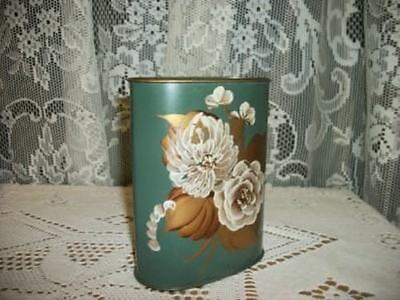 COTTAGE CHIC VINTAGE HP TOLE ROSES PENCIL PEN CAN SHABBY CHIPPY NICE