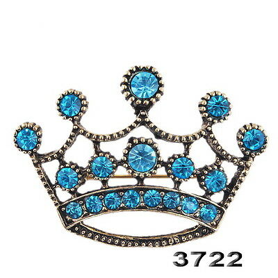 Crystal Charms Retro Chic King Rhinestone Crown Brooch Pins Beauty Party Gifts
