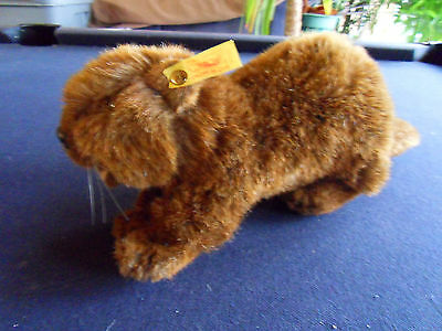 Steiff beaver, large, Nagy, w. button/flag, old,made in Germany 443