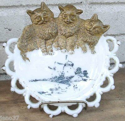 Adorable Antique Fancy Milk Glass Plate Goldleaf Three Cats & Windmill Scene