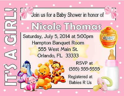20 WINNIE THE POOH BABY SHOWER INVITATIONS - IT'S A GIRL DESIGN