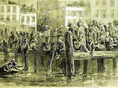 Eytinge POOR in SUMMER on the DOCKS of NYC FRESH AIR 1871 Antique Print Matted