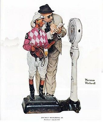 Norman Rockwell Horse Racing Print JOCKEY WEIGHING IN