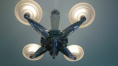 A RARE Highly Stylized French Art Deco Bronze SIGNED Sabino Glass Chandelier 30s