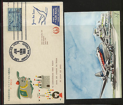 US  Japan airlines flight cover to Tokyo, wiht  post card  1959          MS0107