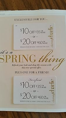 2 Charming Charlie Coupons EACH  IS $10 off $35 or $20 Off $60 Store or Online